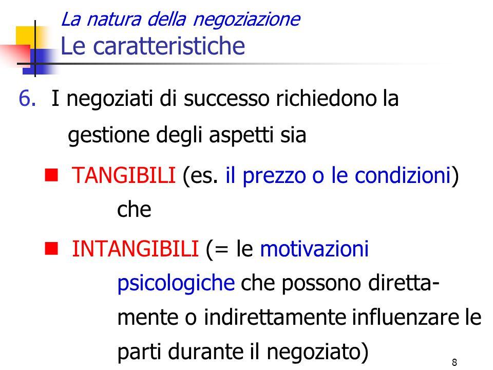 8 La natura della negoziazione Le caratteristiche 6.I negoziati di successo richiedono la gestione degli aspetti sia TANGIBILI (es. il prezzo o le con