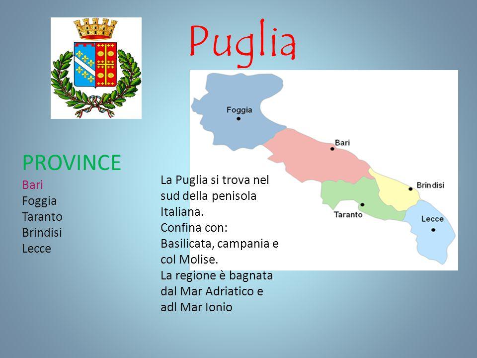 Puglia PROVINCE Bari Foggia Taranto Brindisi Lecce La Puglia si trova nel sud della penisola Italiana. Confina con: Basilicata, campania e col Molise.