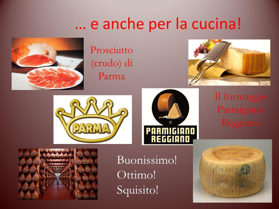 … e anche per la cucina! Prosciutto (crudo) di Parma Il formaggio Parmigiano Reggiano Buonissimo! Ottimo! Squisito!