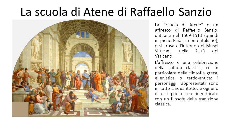 La scuola di Atene di Raffaello Sanzio Come si può vedere da questa sovrapposizione di linee, l'affresco è costruito secondo una rigorosa prospettiva centrale, con i personaggi disposti su piani e profondità diverse.