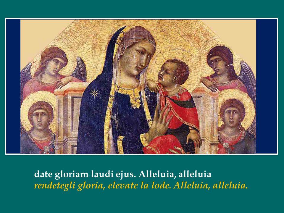 date gloriam laudi ejus. Alleluia, alleluia rendetegli gloria, elevate la lode. Alleluia, alleluia.