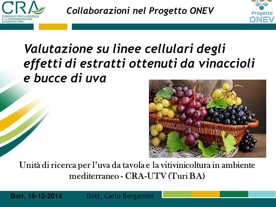 Collaborazioni nel Progetto ONEV Unità di ricerca per l'uva da tavola e la vitivinicoltura in ambiente mediterraneo - CRA-UTV (Turi BA) Bari, 16-12-20