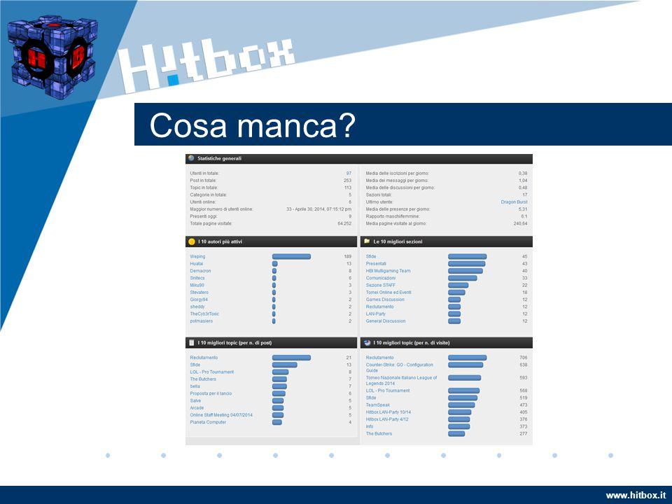 www.hitbox.it Cosa manca