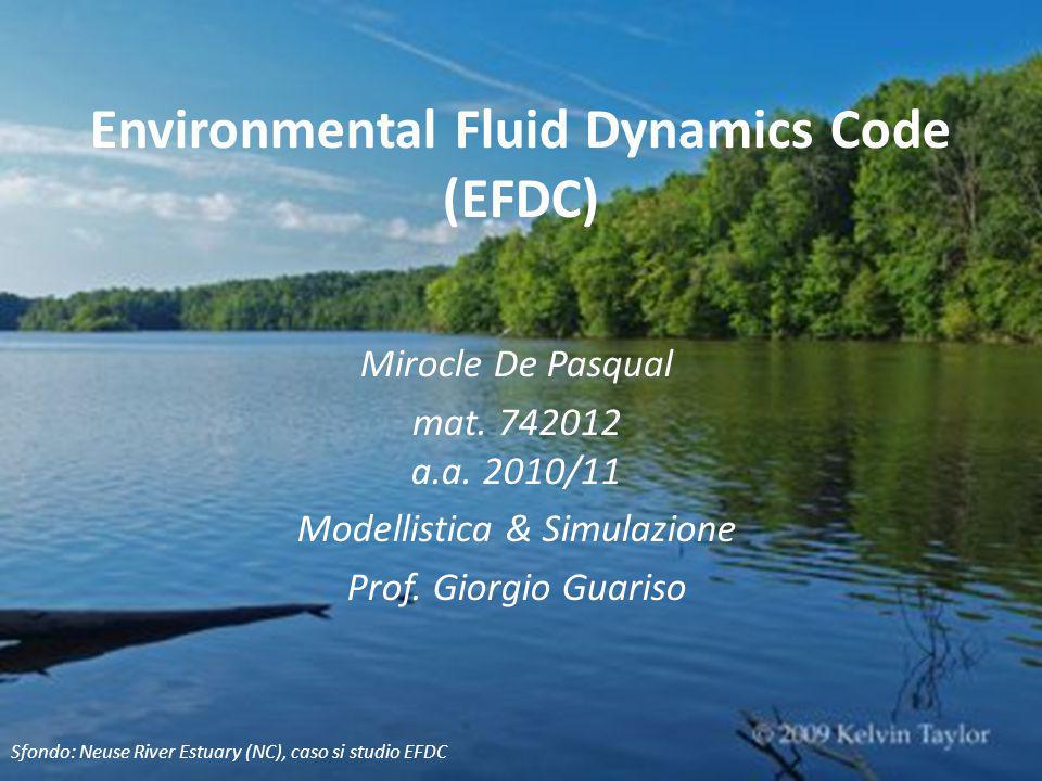 Environmental Fluid Dynamics Code (EFDC) Mirocle De Pasqual mat. 742012 a.a. 2010/11 Modellistica & Simulazione Prof. Giorgio Guariso Sfondo: Neuse Ri