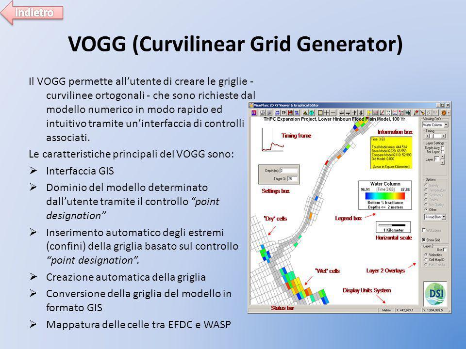 VOGG (Curvilinear Grid Generator) Il VOGG permette all'utente di creare le griglie - curvilinee ortogonali - che sono richieste dal modello numerico in modo rapido ed intuitivo tramite un'interfaccia di controlli associati.