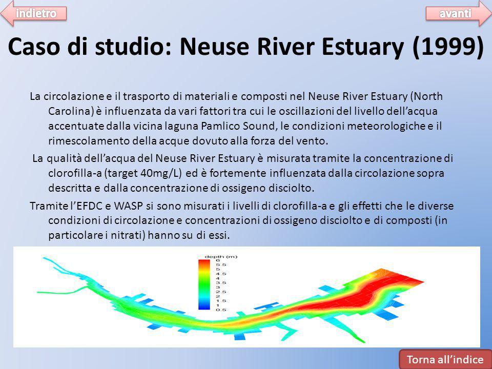 Caso di studio: Neuse River Estuary (1999) La circolazione e il trasporto di materiali e composti nel Neuse River Estuary (North Carolina) è influenza
