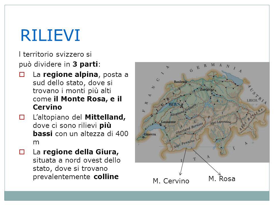 L' IDROGRAFIA  In Svizzera nascono molti fiumi importanti come il Reno, il Rodano e il Ticino.