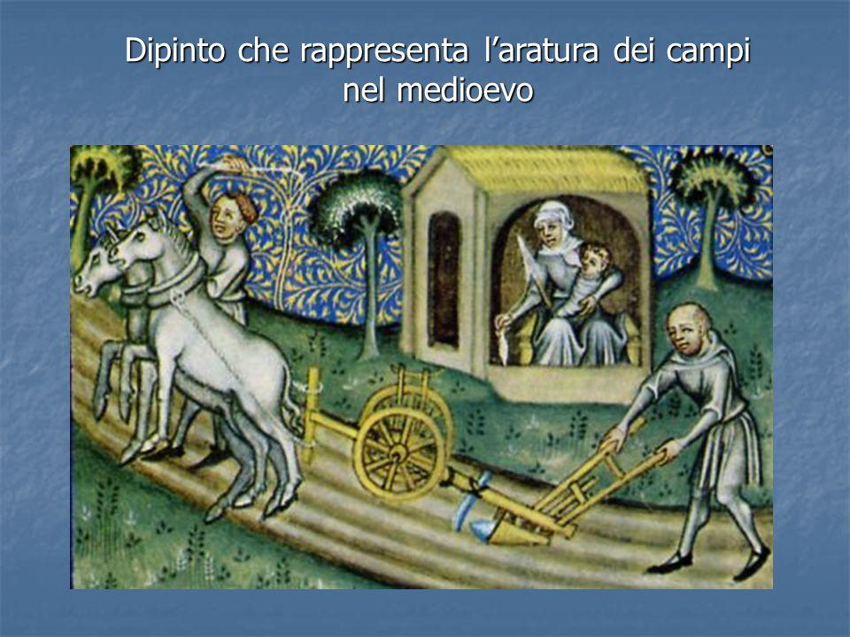 Dipinto che rappresenta l'aratura dei campi nel medioevo