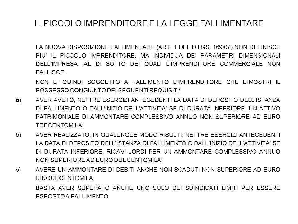 IL PICCOLO IMPRENDITORE E LA LEGGE FALLIMENTARE LA NUOVA DISPOSIZIONE FALLIMENTARE (ART. 1 DEL D.LGS. 169/07) NON DEFINISCE PIU' IL PICCOLO IMPRENDITO