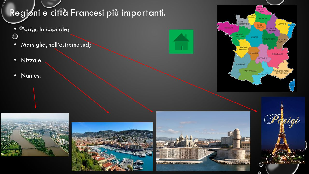 Regioni e città Francesi più importanti. Parigi, la capitale; Marsiglia, nell'estremo sud; Nizza e Nantes.