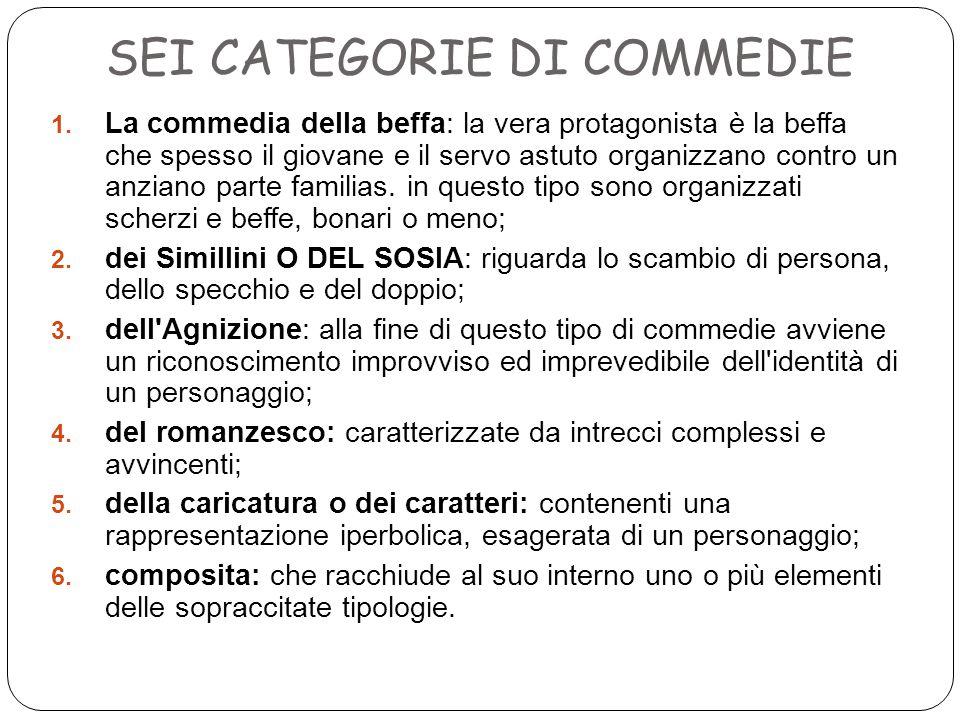 SEI CATEGORIE DI COMMEDIE 1.