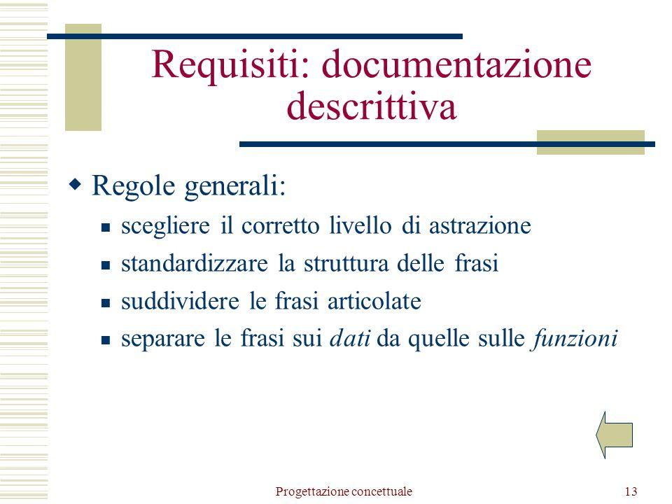 Progettazione concettuale13 Requisiti: documentazione descrittiva  Regole generali: scegliere il corretto livello di astrazione standardizzare la struttura delle frasi suddividere le frasi articolate separare le frasi sui dati da quelle sulle funzioni