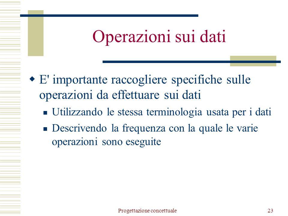 Progettazione concettuale23 Operazioni sui dati  E importante raccogliere specifiche sulle operazioni da effettuare sui dati Utilizzando le stessa terminologia usata per i dati Descrivendo la frequenza con la quale le varie operazioni sono eseguite