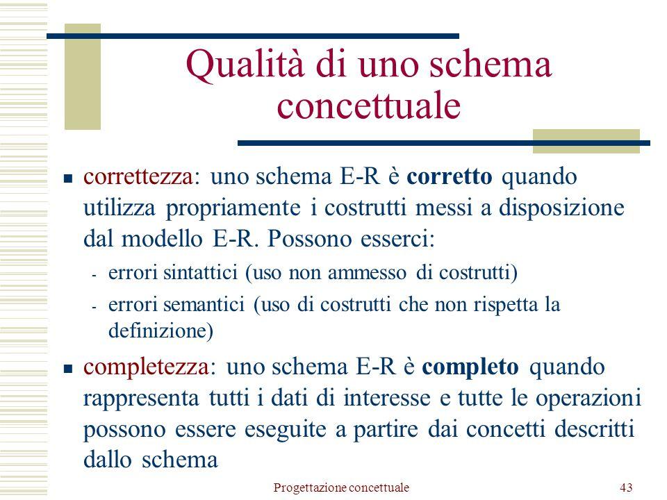 Progettazione concettuale44 leggibilità: uno schema E-R è leggibile quando rappresenta tutti i dati in maniera naturale e comprensibile minimalità: uno schema E-R è minimale quando tutte le specifiche sui dati sono rappresentate una sola volta nello schema  uno schema non è minimale quando esistono delle ridondanze, cioè concetti che possono essere derivati da altri.