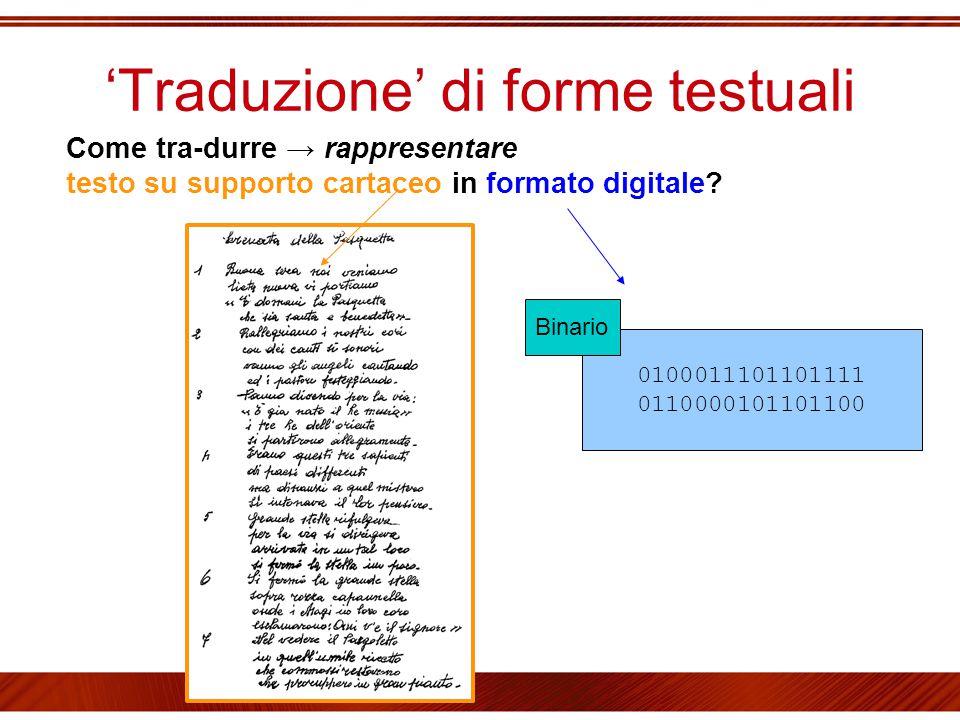 'Traduzione' di forme testuali Come tra-durre → rappresentare testo su supporto cartaceo in formato digitale? 0100011101101111 0110000101101100 Binari