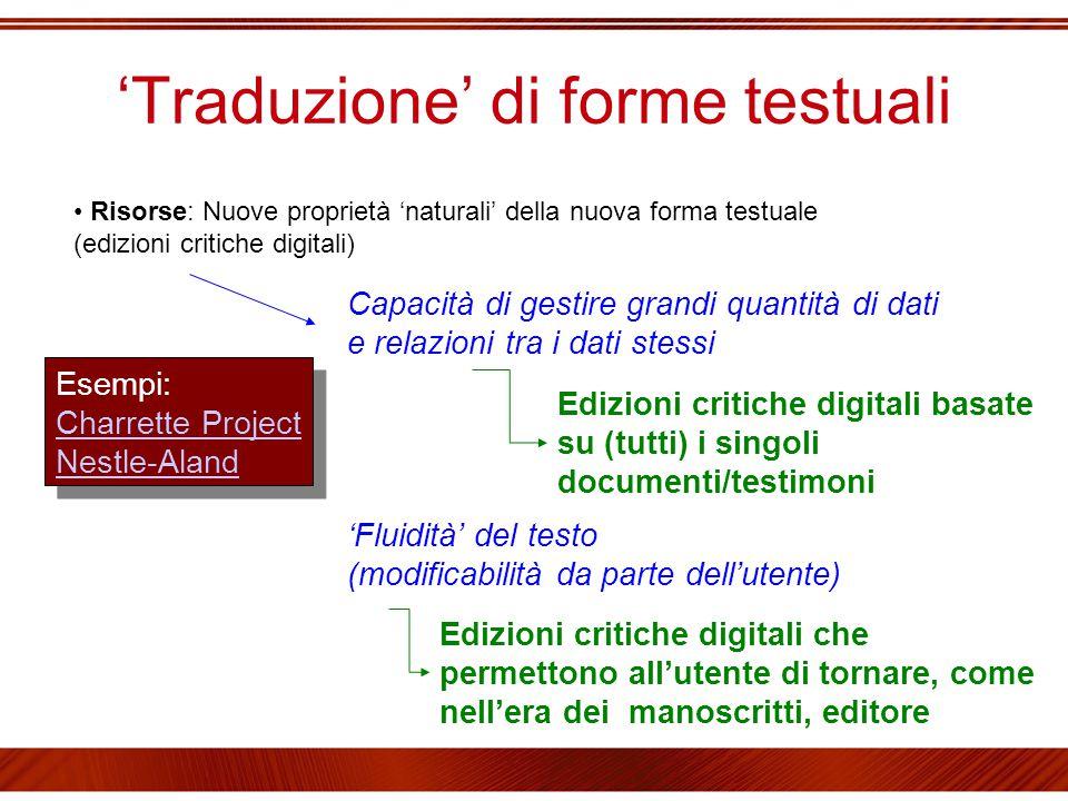 'Traduzione' di forme testuali Risorse: Nuove proprietà 'naturali' della nuova forma testuale (edizioni critiche digitali) 'Fluidità' del testo (modi