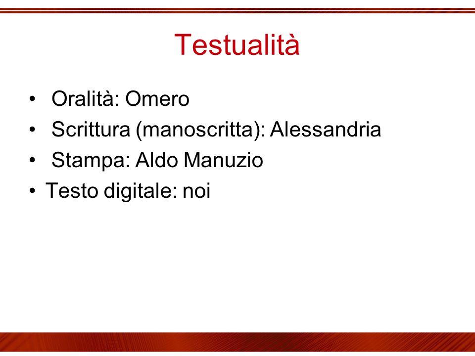 Testualità Oralità: Omero Scrittura (manoscritta): Alessandria Stampa: Aldo Manuzio Testo digitale: noi