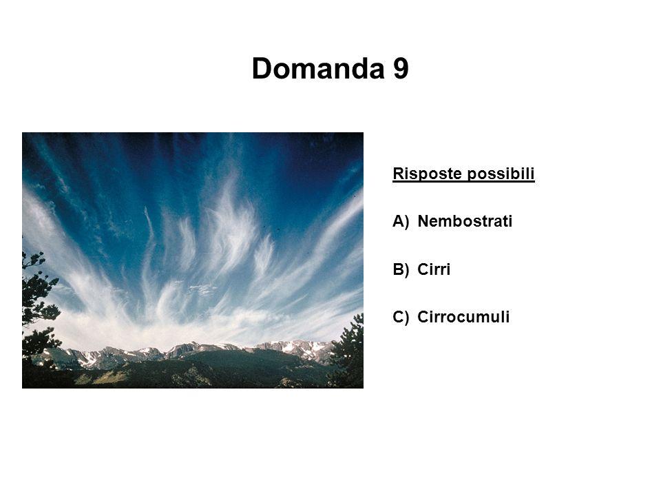 Domanda 9 Risposte possibili A)Nembostrati B)Cirri C)Cirrocumuli