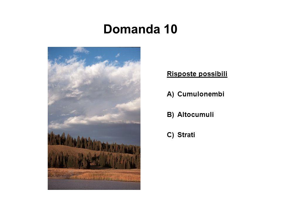 Domanda 10 Risposte possibili A)Cumulonembi B)Altocumuli C)Strati