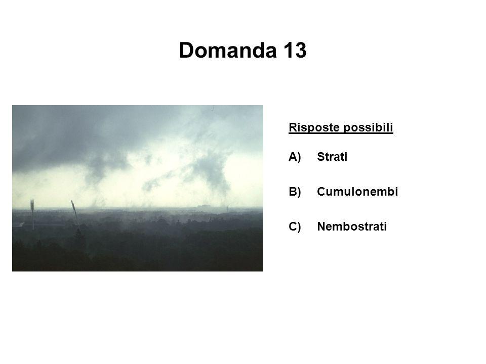 Domanda 13 Risposte possibili A)Strati B)Cumulonembi C)Nembostrati