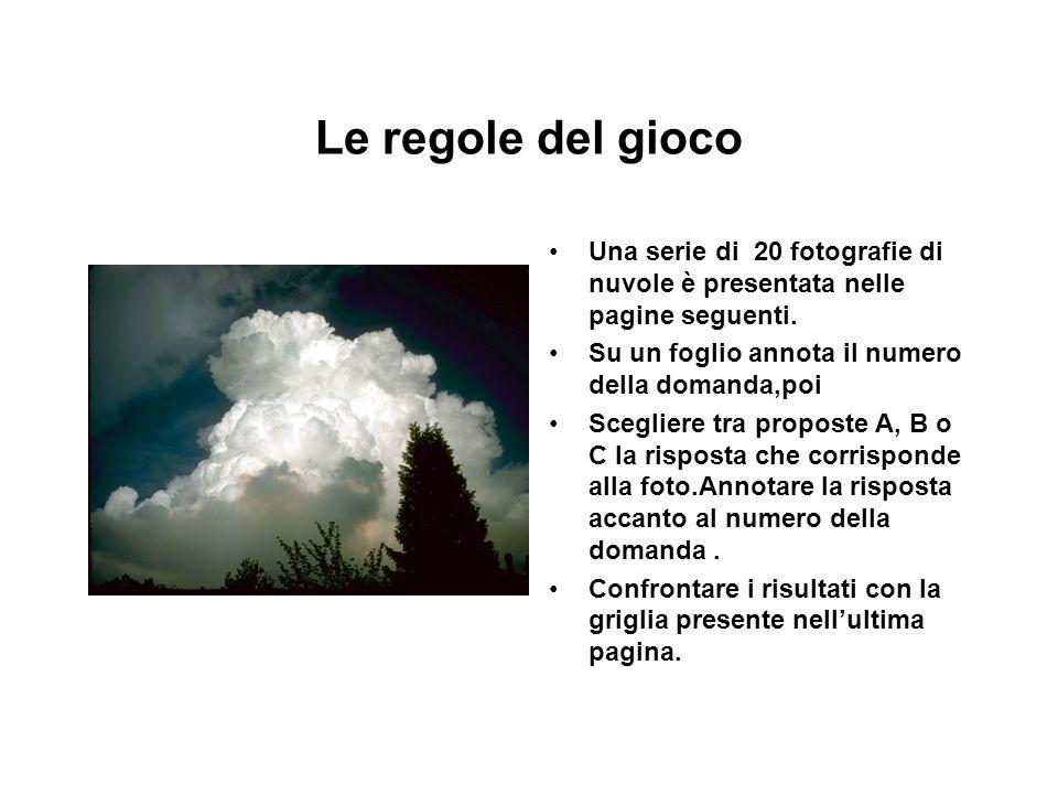 Le regole del gioco Una serie di 20 fotografie di nuvole è presentata nelle pagine seguenti. Su un foglio annota il numero della domanda,poi Scegliere