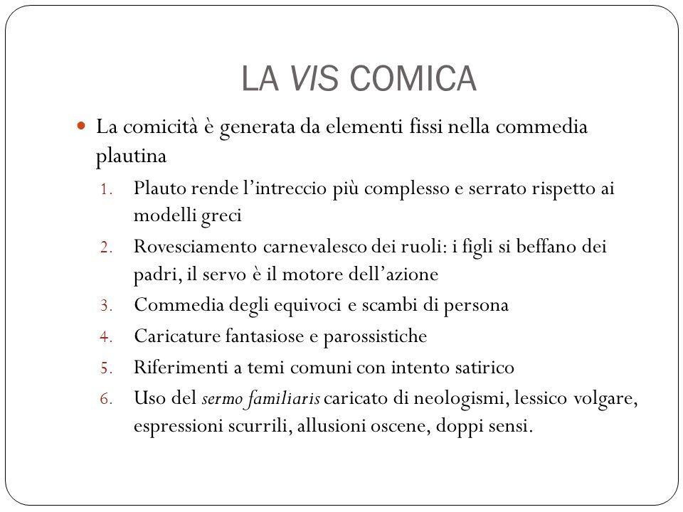 LA VIS COMICA La comicità è generata da elementi fissi nella commedia plautina 1.