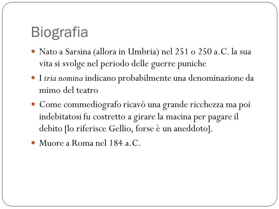 Biografia Nato a Sarsina (allora in Umbria) nel 251 o 250 a.C.
