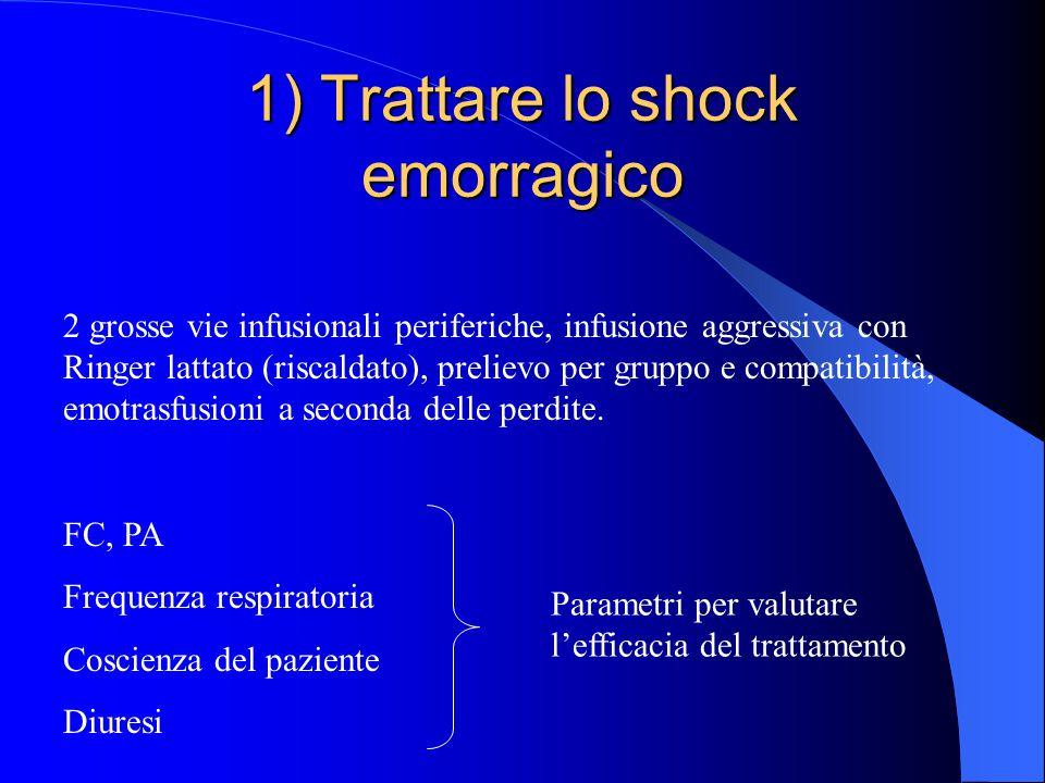 1) Trattare lo shock emorragico 2 grosse vie infusionali periferiche, infusione aggressiva con Ringer lattato (riscaldato), prelievo per gruppo e comp