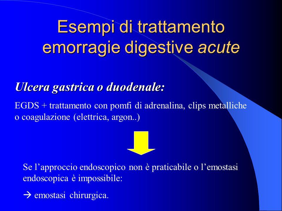 Esempi di trattamento emorragie digestive acute Ulcera gastrica o duodenale: EGDS + trattamento con pomfi di adrenalina, clips metalliche o coagulazione (elettrica, argon..) Se l'approccio endoscopico non è praticabile o l'emostasi endoscopica è impossibile:  emostasi chirurgica.