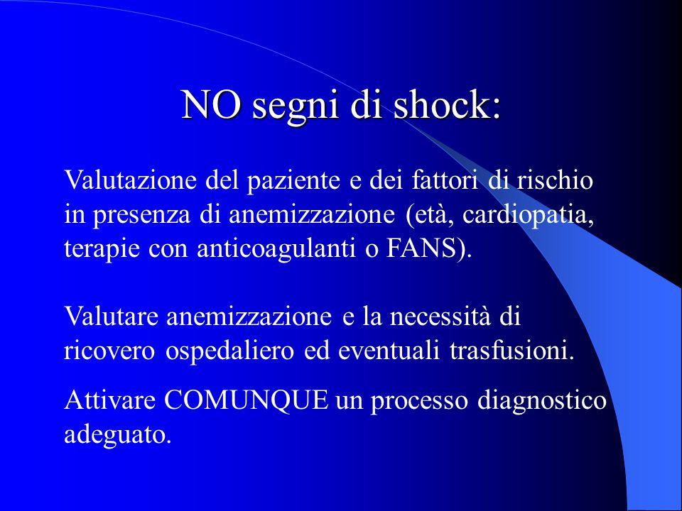 NO segni di shock: Valutazione del paziente e dei fattori di rischio in presenza di anemizzazione (età, cardiopatia, terapie con anticoagulanti o FANS).
