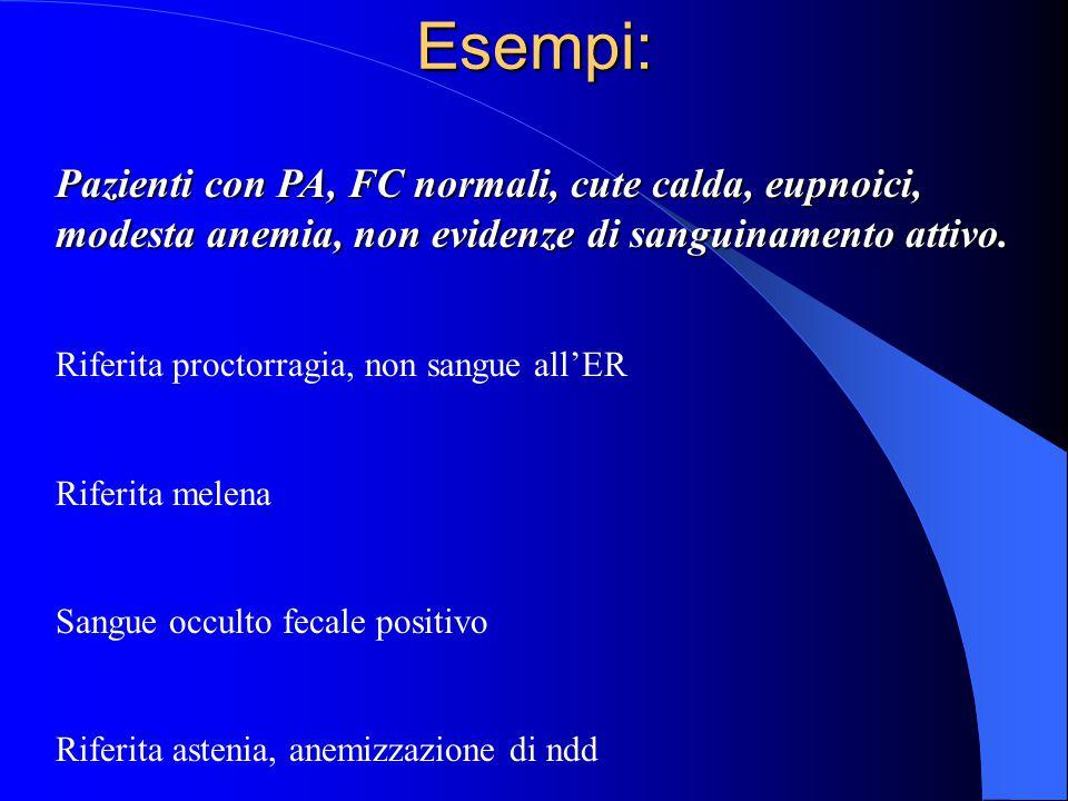 Esempi: Pazienti con PA, FC normali, cute calda, eupnoici, modesta anemia, non evidenze di sanguinamento attivo.