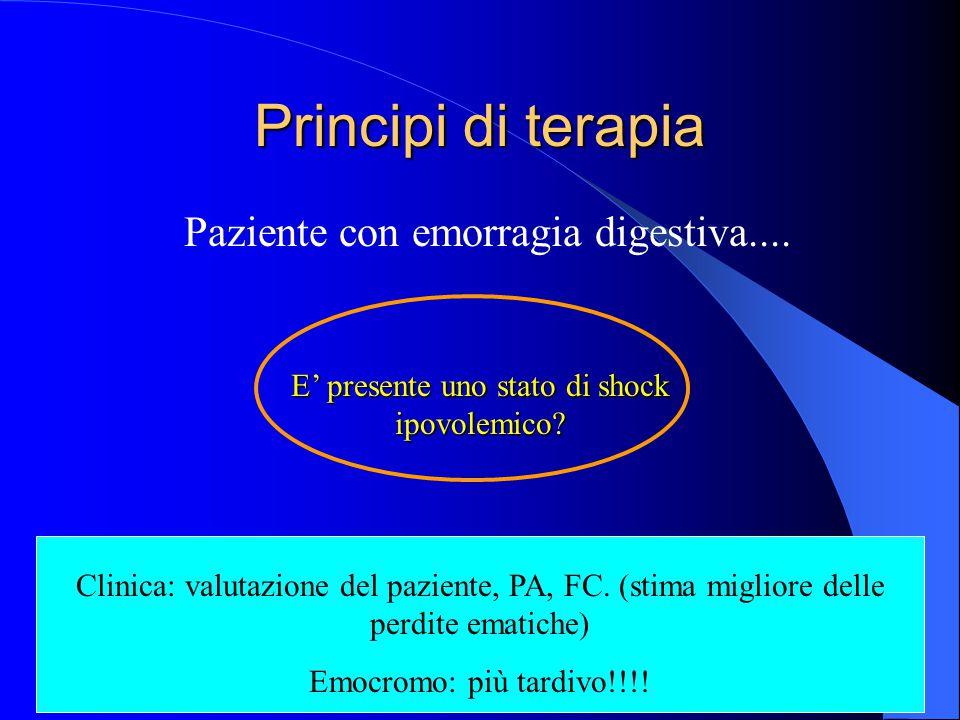 Principi di terapia Paziente con emorragia digestiva.... E' presente uno stato di shock ipovolemico? Clinica: valutazione del paziente, PA, FC. (stima