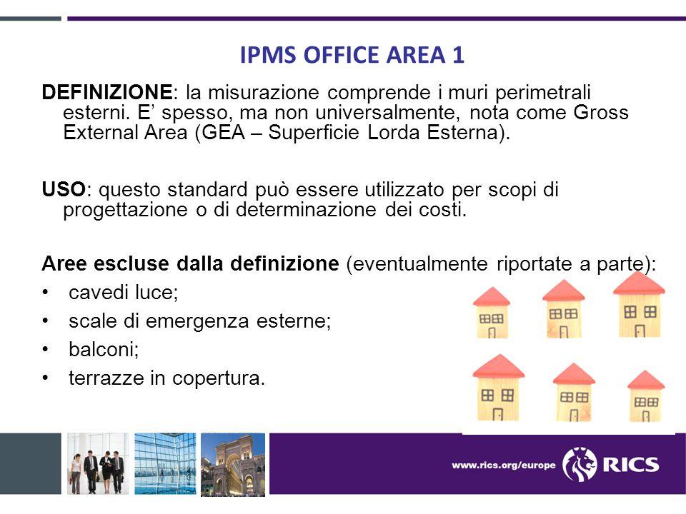IPMS OFFICE AREA 1 DEFINIZIONE: la misurazione comprende i muri perimetrali esterni. E' spesso, ma non universalmente, nota come Gross External Area (