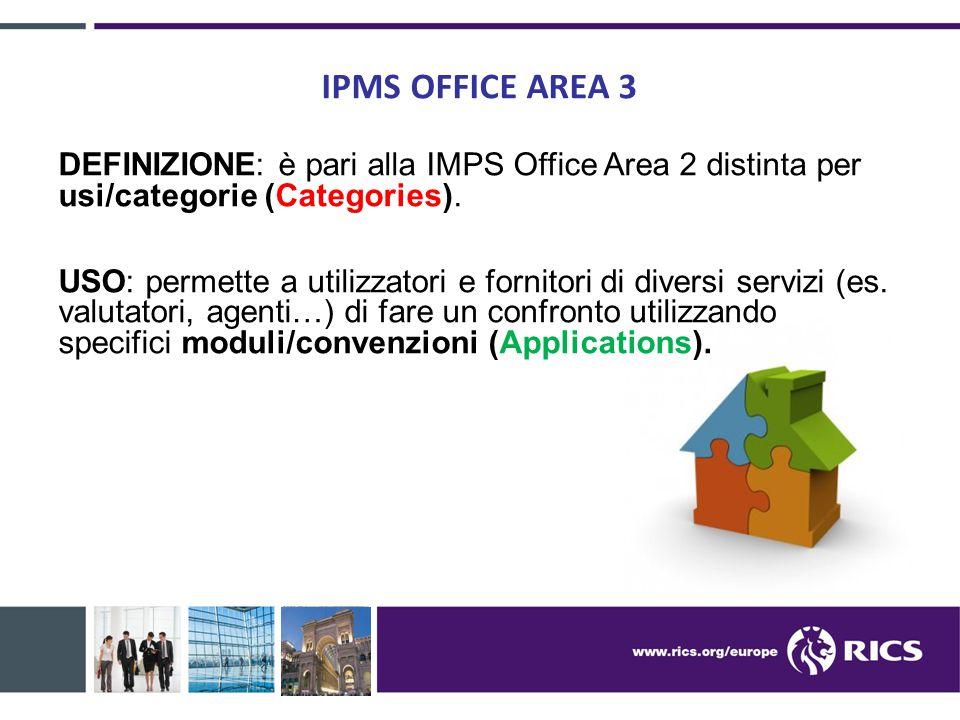 IPMS OFFICE AREA 3 DEFINIZIONE: è pari alla IMPS Office Area 2 distinta per usi/categorie (Categories). USO: permette a utilizzatori e fornitori di di