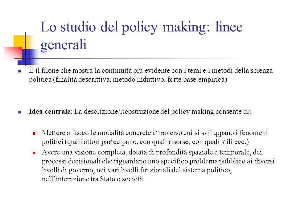 Lo studio del policy making: linee generali È il filone che mostra la continuità più evidente con i temi e i metodi della scienza politica (finalità d