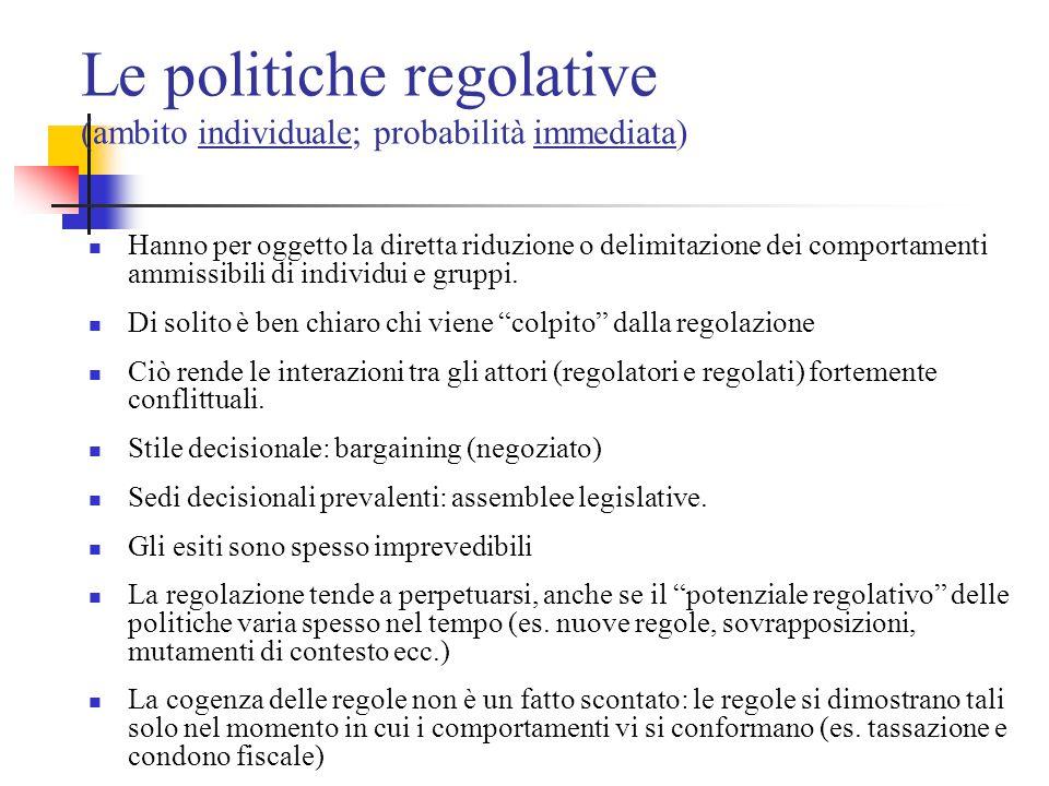 Le politiche regolative (ambito individuale; probabilità immediata) Hanno per oggetto la diretta riduzione o delimitazione dei comportamenti ammissibi