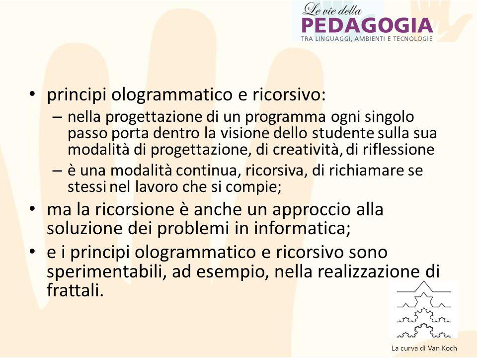 principi ologrammatico e ricorsivo: – nella progettazione di un programma ogni singolo passo porta dentro la visione dello studente sulla sua modalità