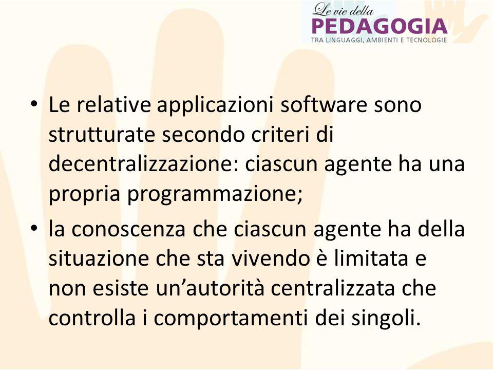 Le relative applicazioni software sono strutturate secondo criteri di decentralizzazione: ciascun agente ha una propria programmazione; la conoscenza