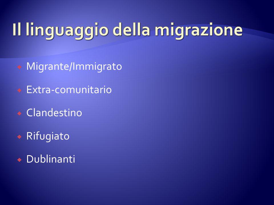  Migrante/Immigrato  Extra-comunitario  Clandestino  Rifugiato  Dublinanti