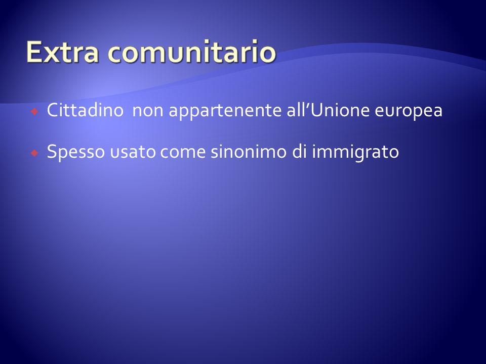  Cittadino non appartenente all'Unione europea  Spesso usato come sinonimo di immigrato
