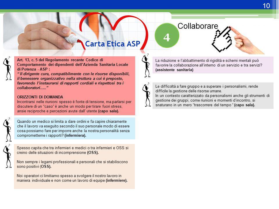 """10 Carta Etica ASP 4 Art. 13, c. 5 del Regolamento recante Codice di Comportamento dei dipendenti dell'Azienda Sanitaria Locale di Potenza - ASP : """" I"""