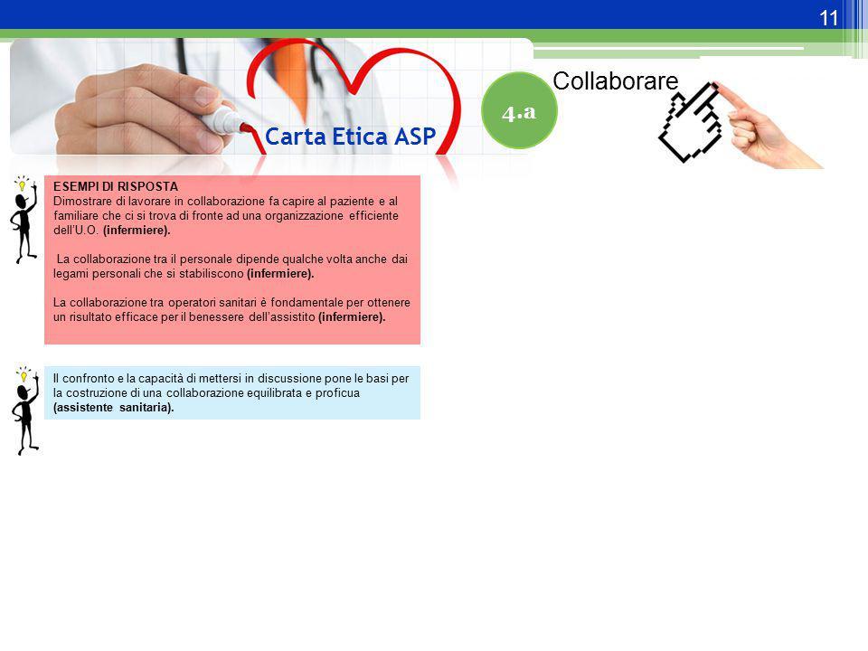 11 Carta Etica ASP 4.a ESEMPI DI RISPOSTA Dimostrare di lavorare in collaborazione fa capire al paziente e al familiare che ci si trova di fronte ad u