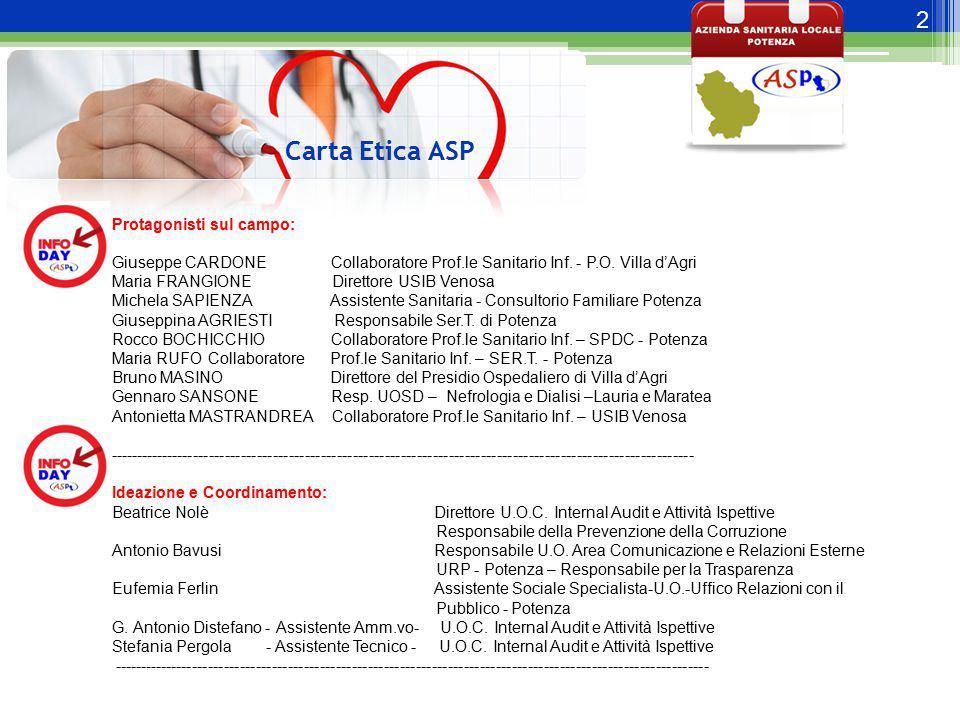 2 Carta Etica ASP Protagonisti sul campo: Giuseppe CARDONE Collaboratore Prof.le Sanitario Inf. - P.O. Villa d'Agri Maria FRANGIONE Direttore USIB Ven