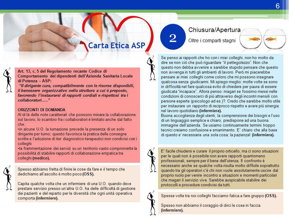 7 Carta Etica ASP 2.a ESEMPI DI RISPOSTA Per evitare di lavorare in un clima caotico e di confusione bisogna pensare a strumenti come protocolli di intesa, piani di lavoro, etc.