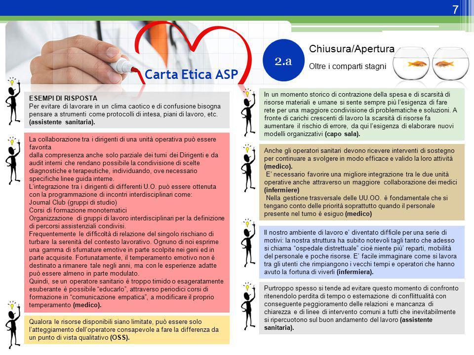 7 Carta Etica ASP 2.a ESEMPI DI RISPOSTA Per evitare di lavorare in un clima caotico e di confusione bisogna pensare a strumenti come protocolli di in