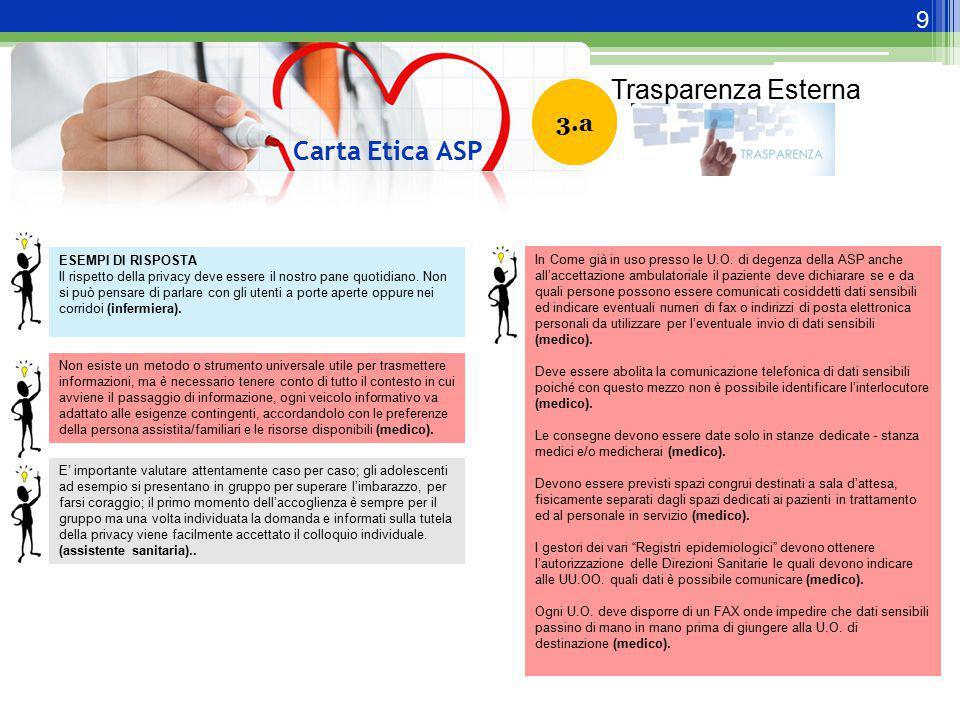 9 Carta Etica ASP 3.1 ESEMPI DI RISPOSTA Il rispetto della privacy deve essere il nostro pane quotidiano. Non si può pensare di parlare con gli utenti