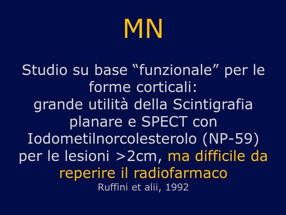 """MN Studio su base """"funzionale"""" per le forme corticali: grande utilità della Scintigrafia planare e SPECT con Iodometilnorcolesterolo (NP-59) per le le"""