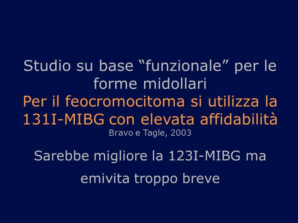 """Studio su base """"funzionale"""" per le forme midollari Per il feocromocitoma si utilizza la 131I-MIBG con elevata affidabilità Bravo e Tagle, 2003 Sarebbe"""