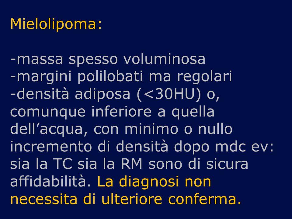 Mielolipoma: -massa spesso voluminosa -margini polilobati ma regolari -densità adiposa (<30HU) o, comunque inferiore a quella dell'acqua, con minimo o
