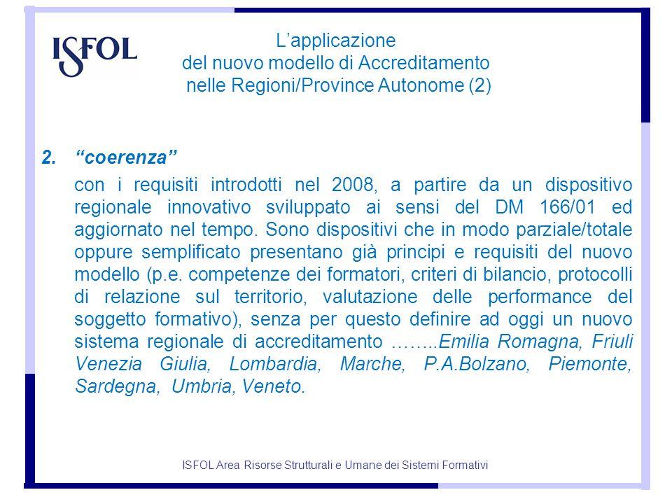 L'applicazione del nuovo modello di Accreditamento nelle Regioni/Province Autonome (2) 2. coerenza con i requisiti introdotti nel 2008, a partire da un dispositivo regionale innovativo sviluppato ai sensi del DM 166/01 ed aggiornato nel tempo.